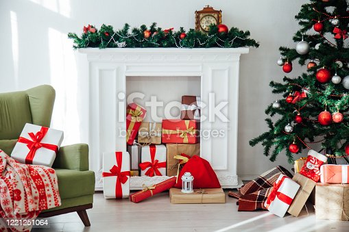 Christmas home interior Christmas tree red gifts new year decor background