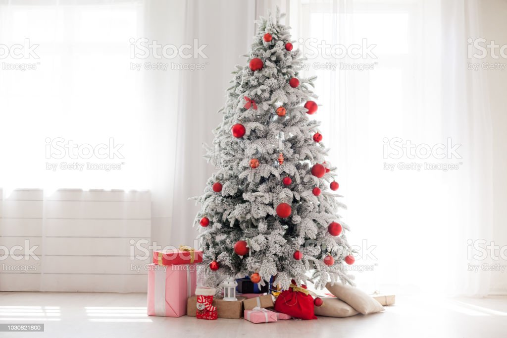 White Christmas Tree.Christmas Home Interior With White Christmas Tree Stock Photo Download Image Now