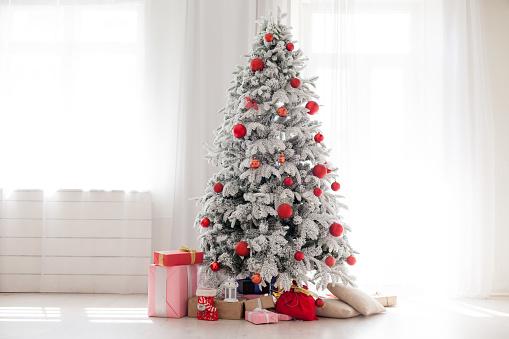Christmas Home Interior with White Christmas tree