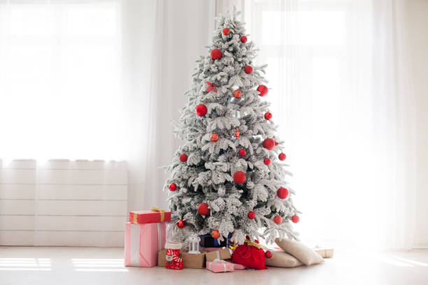 Christmas Home Interior with White Christmas tree Christmas Home Interior with White Christmas tree 1 christmas trees stock pictures, royalty-free photos & images