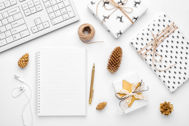 Christmas home office desk. Flat lay, top view. stock photo