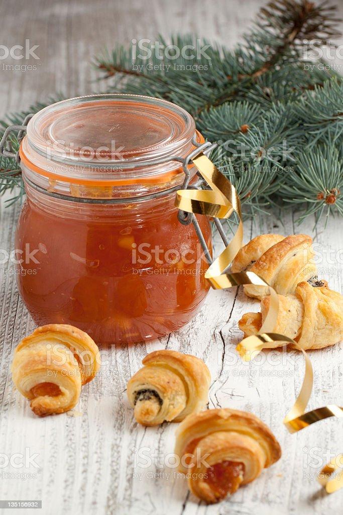 Christmas homemade cookies and jam royalty-free stock photo