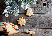 Christmas homemade cookies on wooden boards