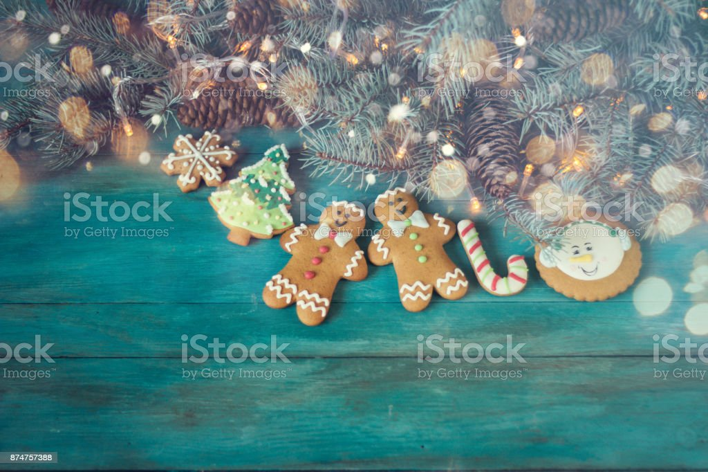 Christmas Homemade Gingerbread Cookies On Table Christmas Background Concept Royalty Free Stock Photo
