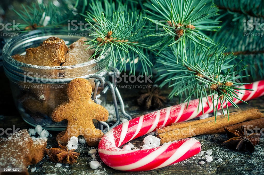 Christmas homemade gingerbread cookies on wooden table stock photo