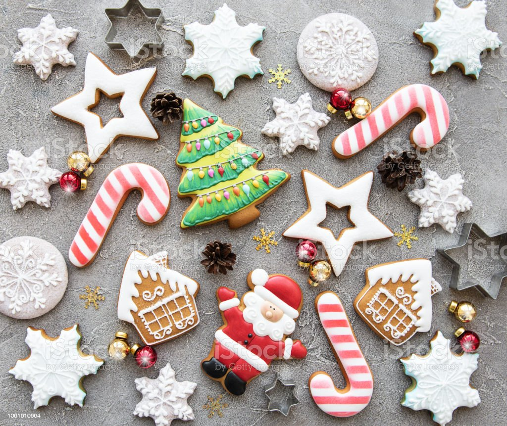 Christmas homemade gingerbread cookies - foto stock