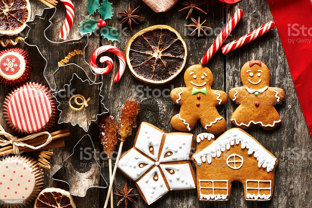 Christmas homemade gingerbread cookies stock photo