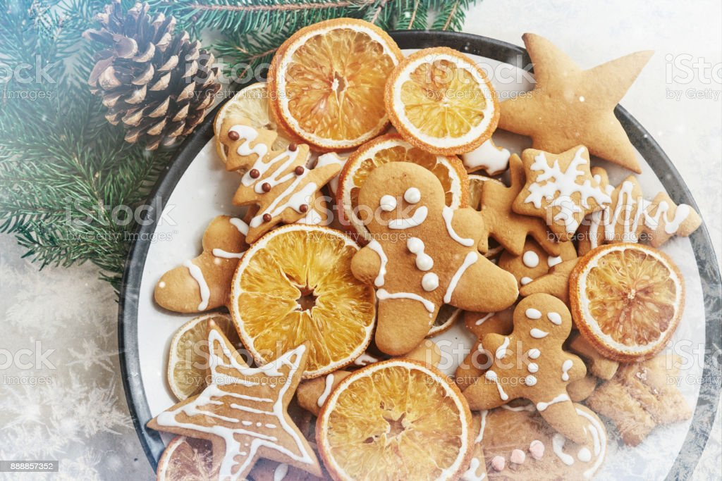 Christmas honey biscuits with orange. Happy New Year and Christmas. Bokeh light soft effect stock photo