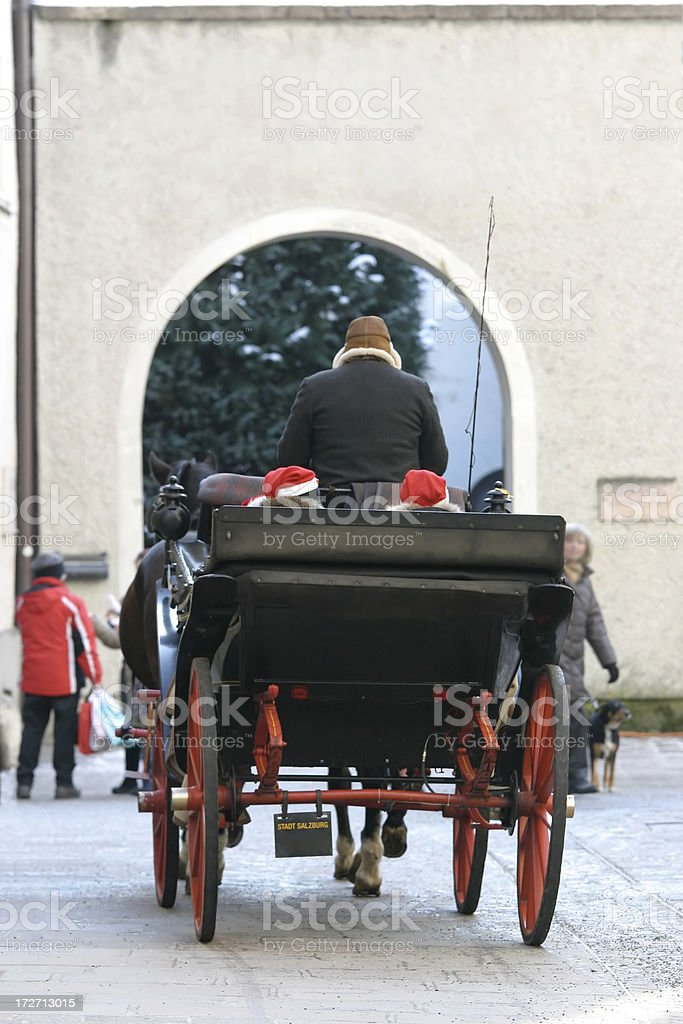 Christmas Horse & Carriage royalty-free stock photo