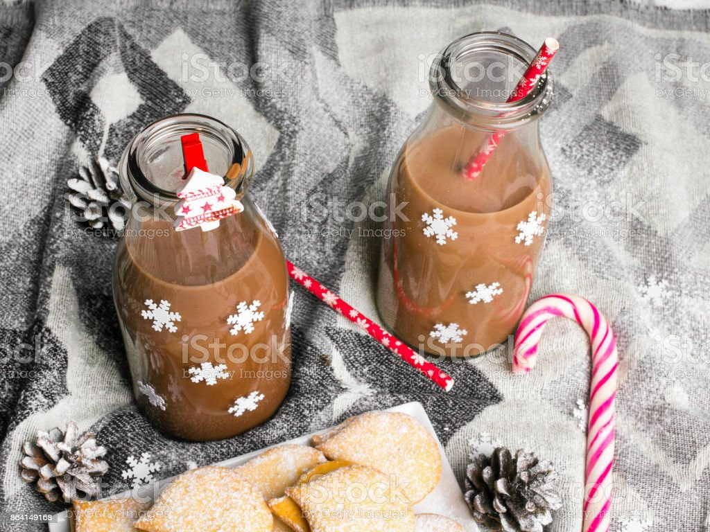 Christmas hot chocolate, sweet cookies and colorful decorations royalty-free stock photo