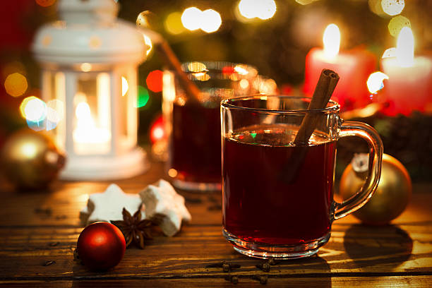 christmas hot drink - mulled wine stock photos and pictures