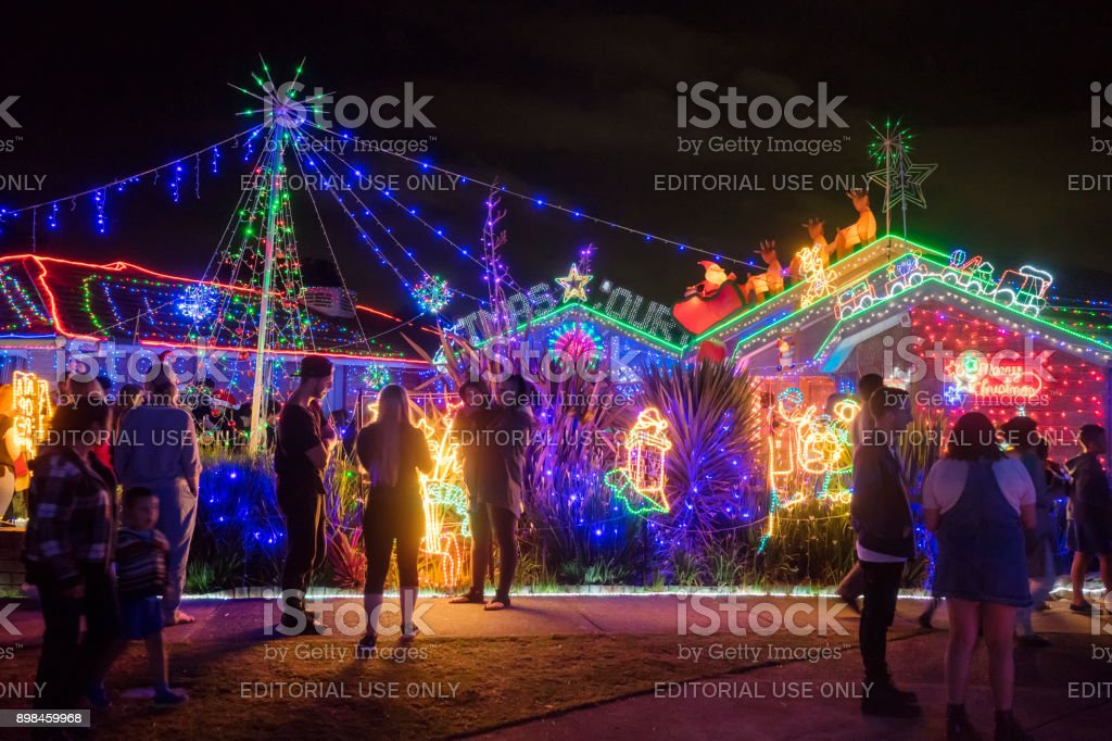Christmas House - Hugo Court, Narre Warren, Melbourne stock photo