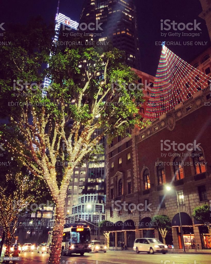 christmas illumination and decorations on streets in los angeles downtown usa royalty free stock
