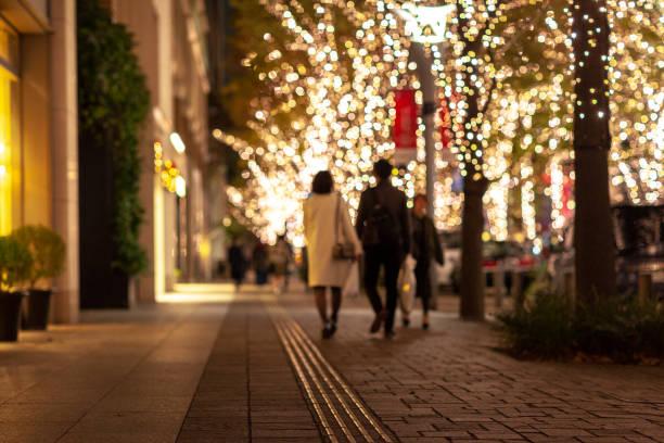 weihnachten beleuchtung licht datum - japanische lampen stock-fotos und bilder