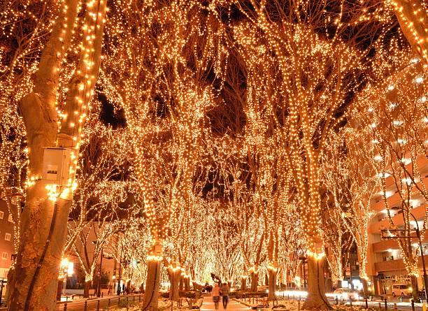 weihnachten beleuchtung - weihnachten japan stock-fotos und bilder