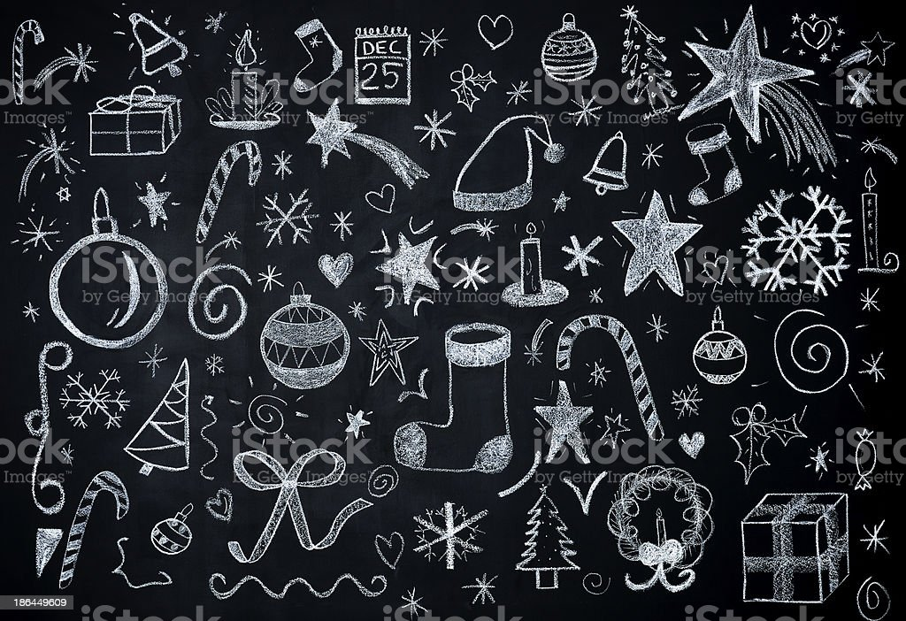 Christmas illustrations on blackboard stock photo