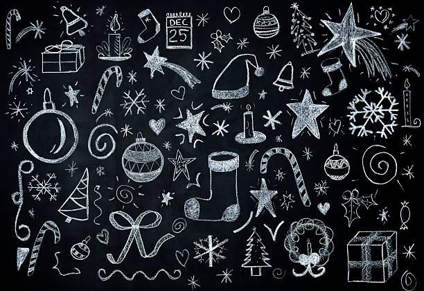 Christmas illustrations on blackboard stock photo