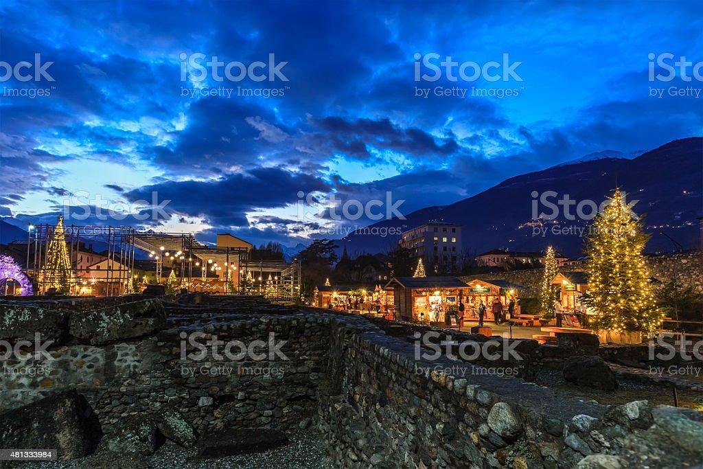 Christmas in Aosta, Italy stock photo