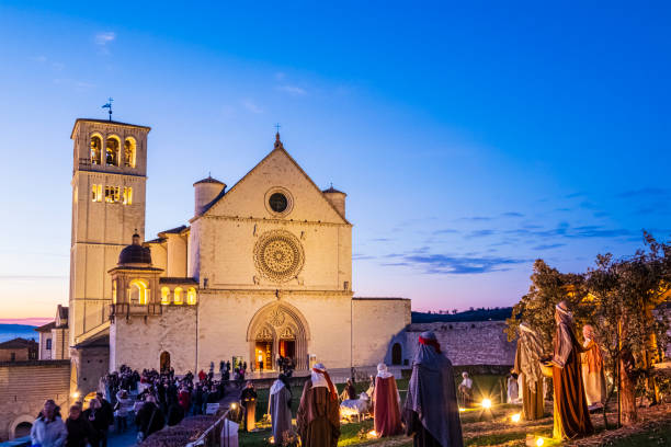 Christmas in Assisi, Italy stock photo