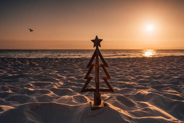 christmas in australia by the beach - christmas background стоковые фото и изображения