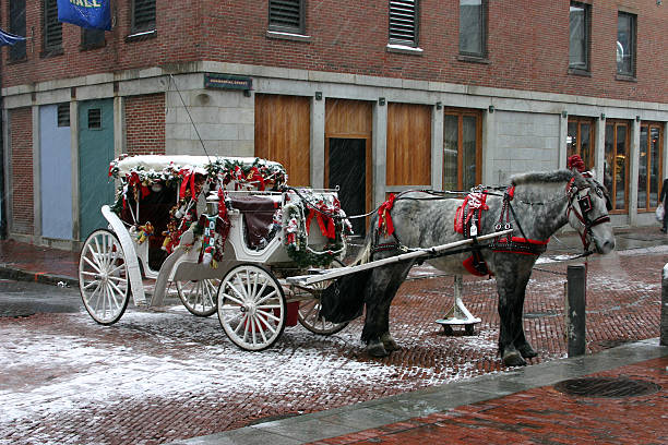 weihnachten in boston - pferdekutsche stock-fotos und bilder
