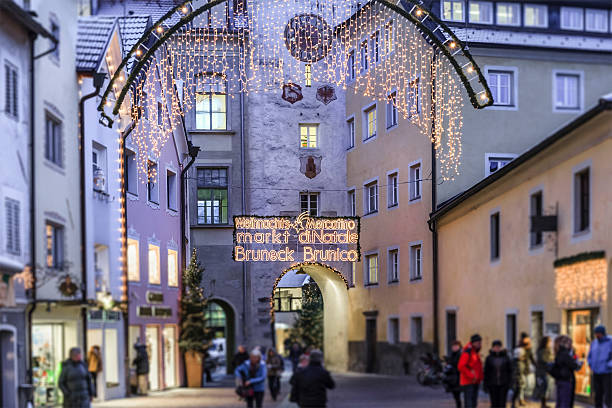 Christmas in Brunico/Bruneck, Italy Commercial street decorated for Christmas in Brunico/Bruneck, a beautiful small town in north Italy. bruneck stock pictures, royalty-free photos & images