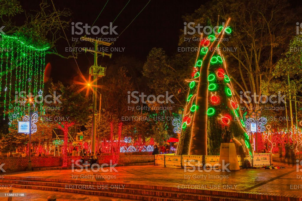 Christmas In Colombia South America.Christmas In Colombia Led Illumination Of Artificial Modern