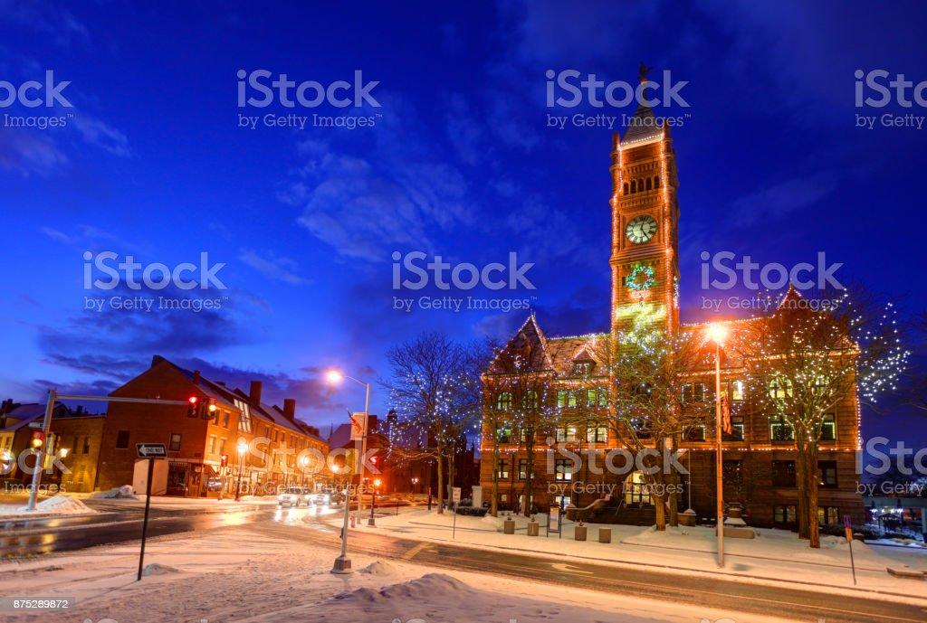 Christmas in Lowell, Massachusetts stock photo
