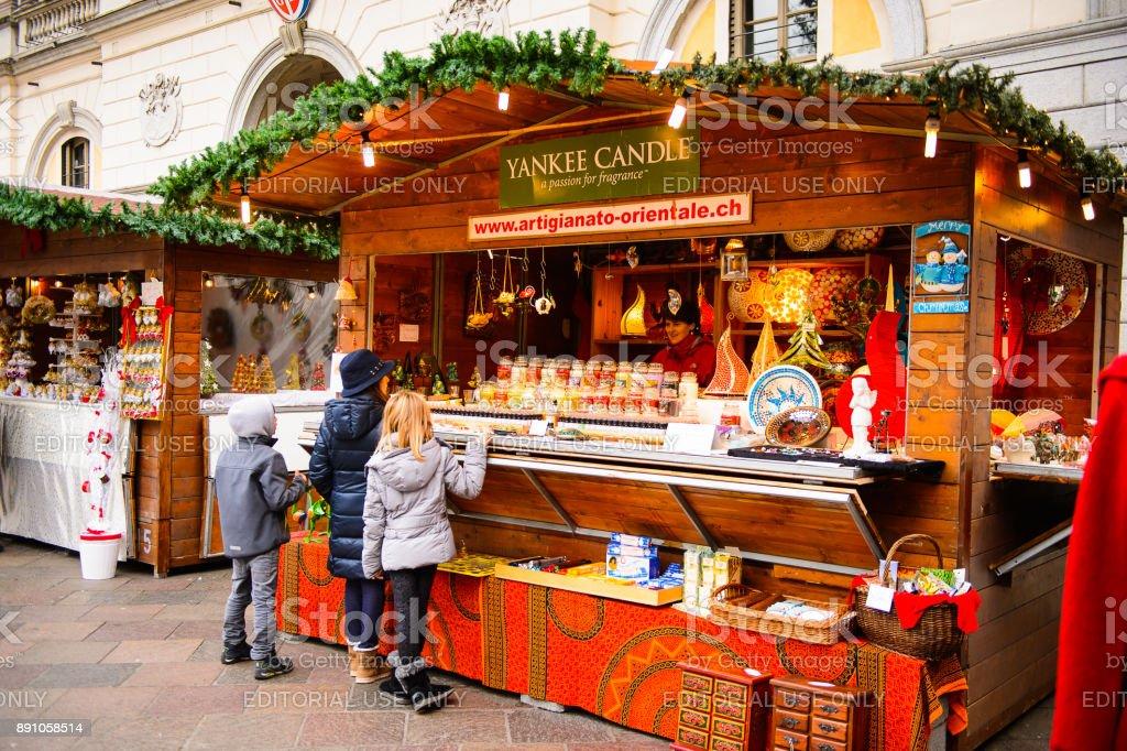 Christmas in Lugano, Switzerland stock photo