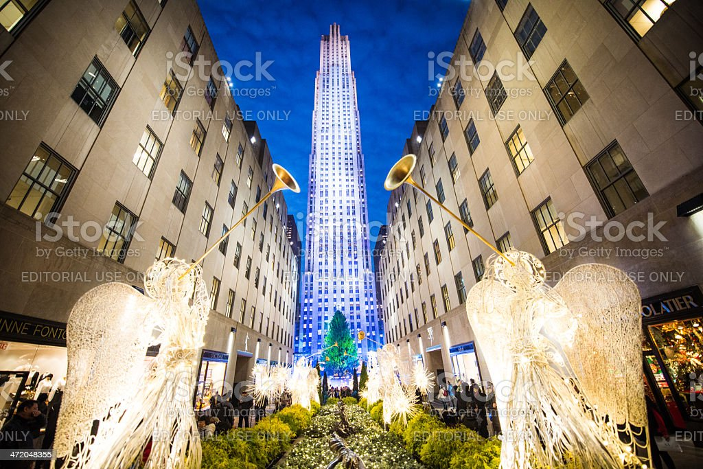 Christmas in New York at the Rockefeller Center stock photo