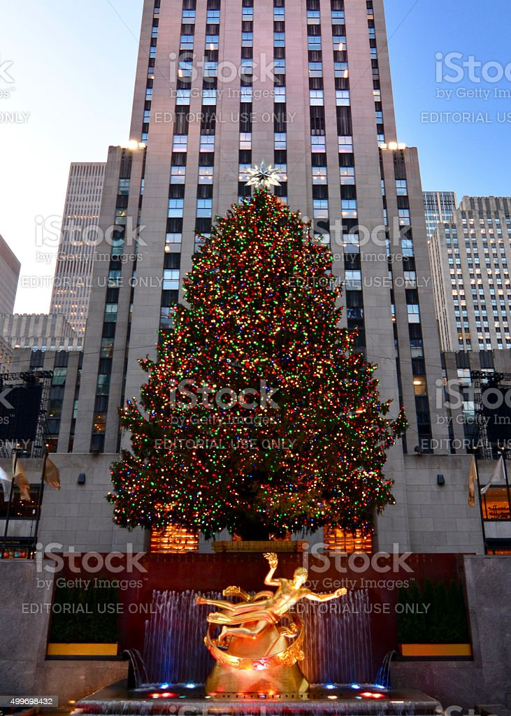 A shot of the 2015 Rockefeller Center Christmas Tree, with people and...