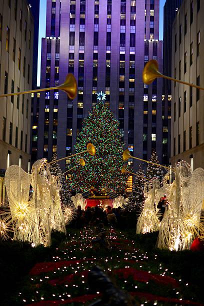 Christmas in new york - Rockefeller Center Holiday Christmas Tree stock photo