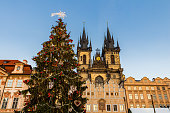 Christmas in Oldtown square (czech: Staromestske namesti) Prague, Czech Republic