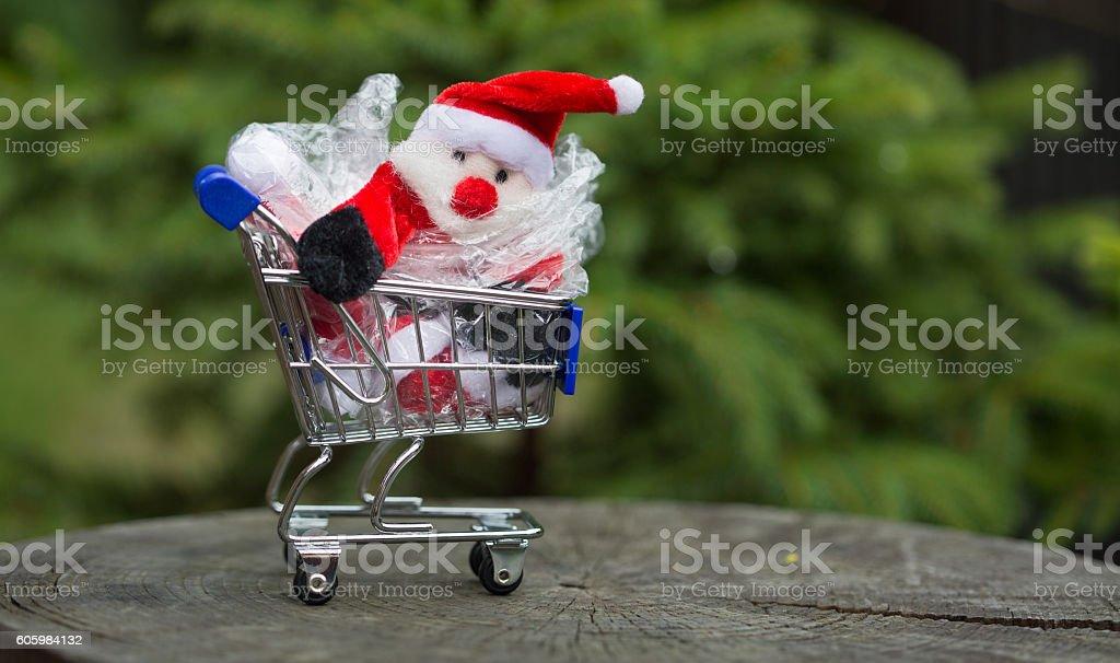 Christmas in plastic bag stock photo