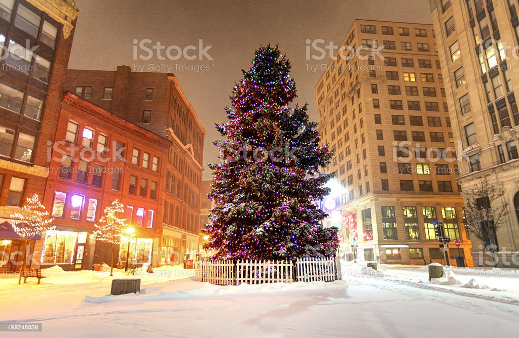 Christmas in Portland Maine stock photo