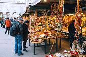 Salburg, Austria - December 25, 2015: Christmas market Salzburg, Austria.