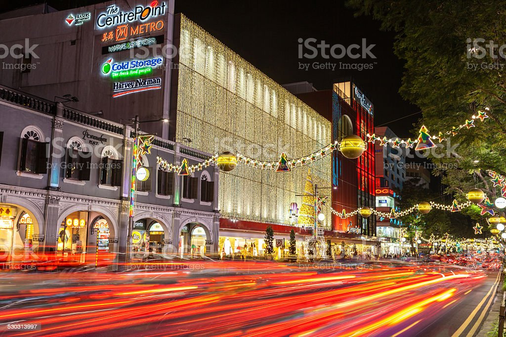 Christmas in Singapore at Night stock photo