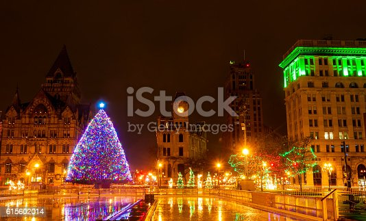 Clinton Square in Syracuse, New York, lit up for Christmas