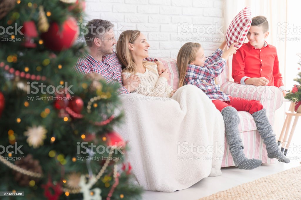 Christmas in the family stock photo