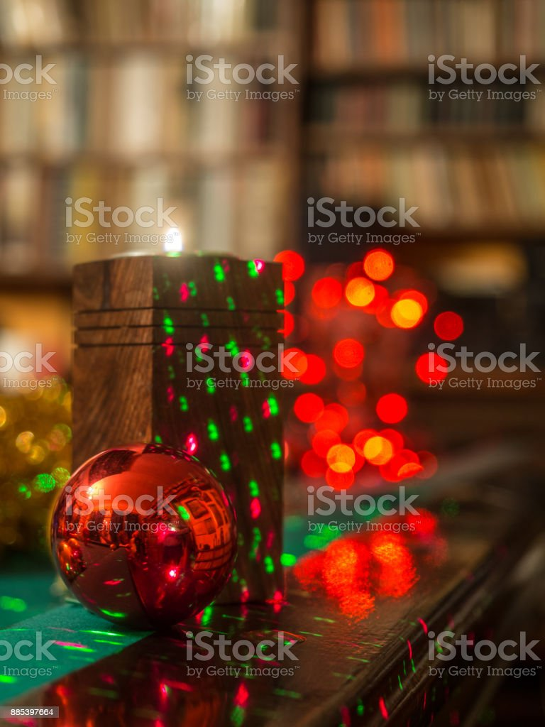 Christmas in the library stock photo