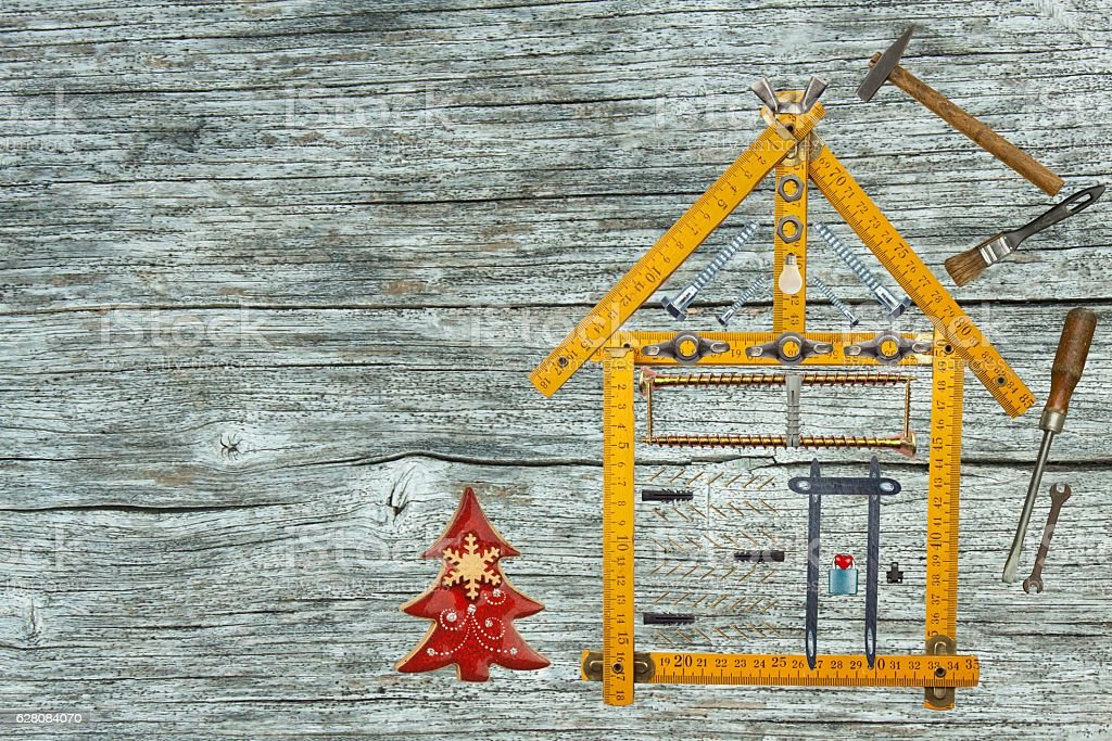 Christmas in the new house. Building a house. stock photo