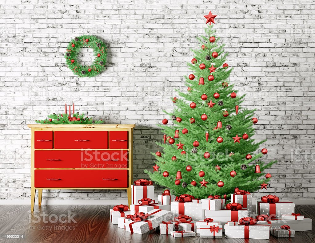 Christmas interior 3d rendering stock photo
