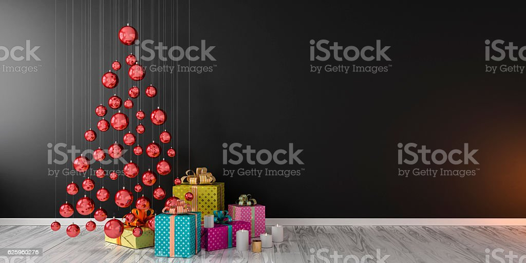 Christmas interior decor and gifts 3D render mock up vector art illustration