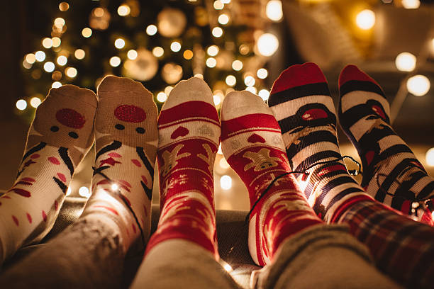 christmas is here. - pajamas stock photos and pictures