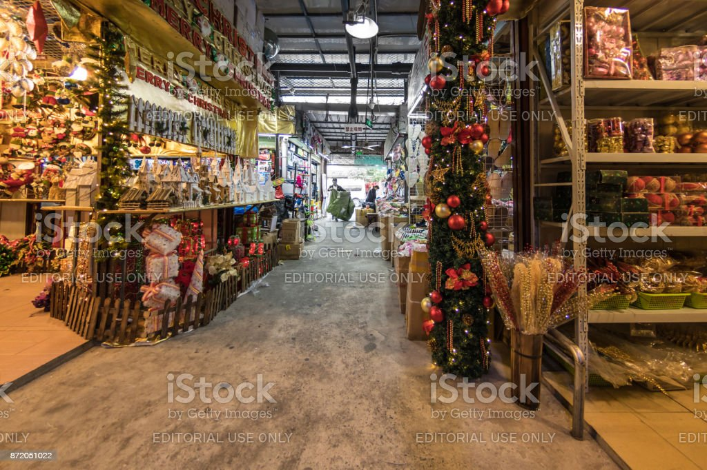 Christmas items for sale in a market in Shanghai stock photo