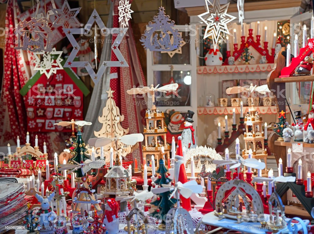Christmas items on traditional Christmas market in Colmar, France stock photo