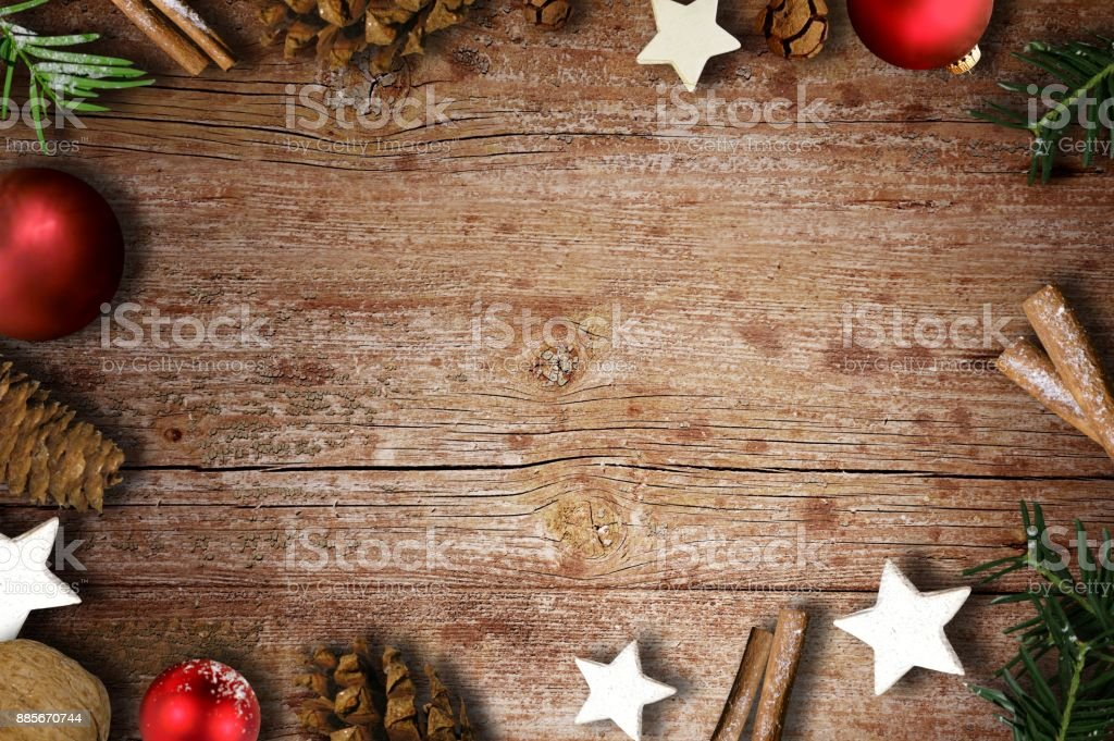 Christmas items on wood background stock photo