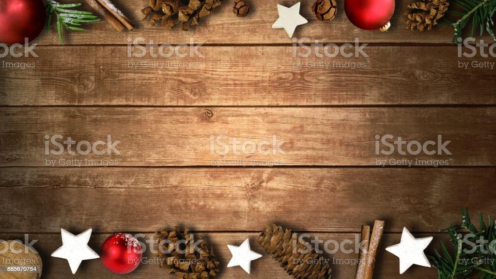Christmas items on wood background stock photo