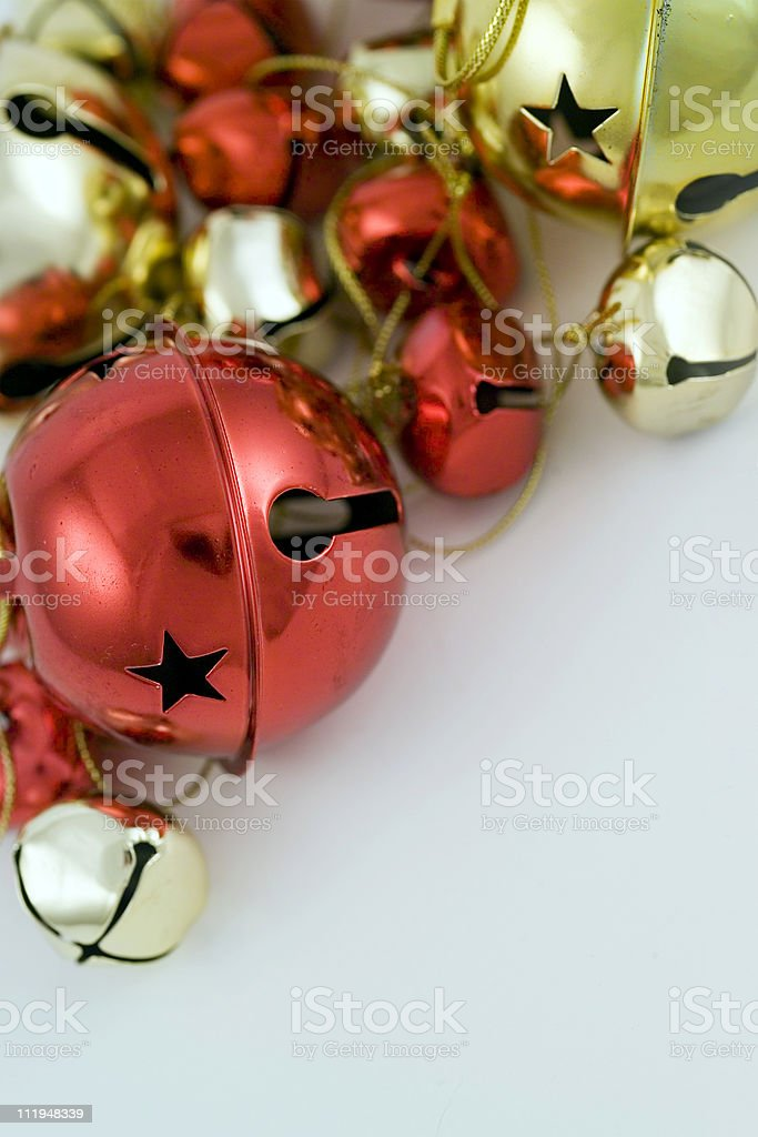 Christmas jingle bells arranged at corner with copy space below stock photo