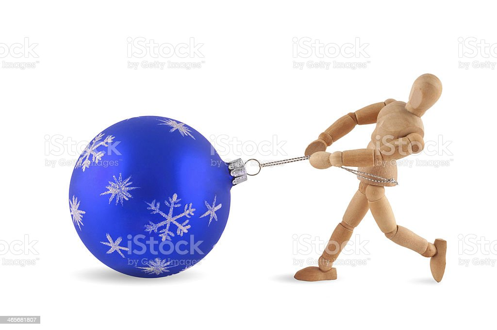 christmas jobs - Wooden mannequins at work royalty-free stock photo